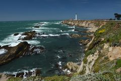 Pacific coasts Impressions of Point Arena Light, California USA. Pacific coasts Impressions of Point Arena Light from April 28, 2017, California USA stock photo