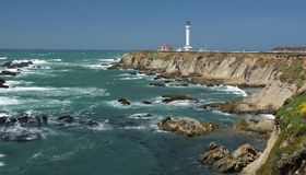 Pacific coasts Impressions of Point Arena Light, California USA. Pacific coasts Impressions of Point Arena Light from April 28, 2017, California USA royalty free stock images