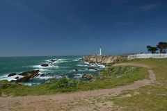 Pacific coasts Impressions of Point Arena Light, California USA Royalty Free Stock Photos