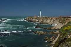 Pacific coasts Impressions of Point Arena Light, California USA. Pacific coasts Impressions of Point Arena Light from April 28, 2017, California USA royalty free stock photo