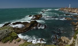 Pacific coasts Impressions of Point Arena Light, California USA. Pacific coasts Impressions of Point Arena Light from April 28, 2017, California USA stock image