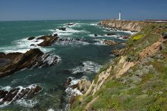 Pacific coasts Impressions of Point Arena Light, California USA. Pacific coasts Impressions of Point Arena Light from April 28, 2017, California USA royalty free stock photos