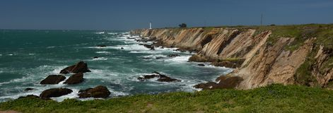 Pacific coasts Impressions of Point Arena Light, California USA. Pacific coasts Impressions of Point Arena Light from April 28, 2017, California USA royalty free stock image