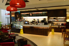 Pacific Coffee cafe in Hong Kong International airport Stock Image