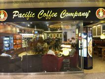 Pacific Coffee Company. A branch of Pacific Coffee Company. PCC was developed in Hong Kong and has a big prescence in the Pacific coast of the United States Stock Image