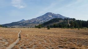 Pacific crest trail going through dry grass stock photos