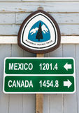 Pacific Crest Trail mileage sign. Canada, Mexico mileage sign on the Pacific Crest National Scenic Trail Stock Images