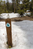 Pacific Crest Trail. Or PCT at Sonora Pass crosses snow patches in the Sierra Nevada Mountains of California Stock Image