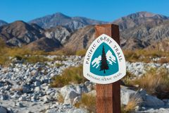 Pacific Crest Trail sign for hikers and backpackers stock photos