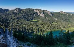 Pacific Crest Trial View. Hunts Lake foreground and Hanks Lake view from the Pacific Crest Trail in Mount Jefferson Wilderness, Oregon Stock Photography