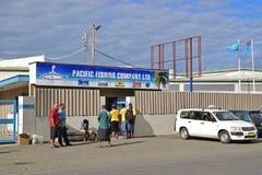 Pacific Fishing Company在Levuka, Ovalau海岛,斐济限制了工厂 免版税库存图片