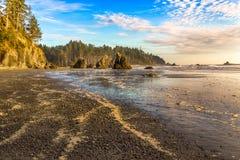 Ocean beach in golden hour Stock Photos