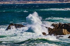 Wave Action. Pacific Grove, California - USA; February 20, 2018; Located between Monterey and Pebble Beach, visitors and residents to Pacific Grove enjoy Royalty Free Stock Photos