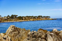 Ocean View Boulevard. Pacific Grove, California - USA; February 20, 2018; Located between Monterey and Pebble Beach, visitors and residents to Pacific Grove Royalty Free Stock Image