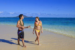 Pacific island man plays his ukulele Royalty Free Stock Photography