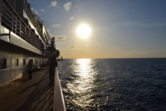 Pacific Island. One of the beautiful sunsets in the pacific Ocean inboard Nippon Maru. SWY 29 program Royalty Free Stock Photo