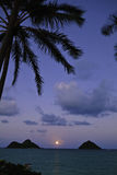 Pacific moonrise in hawaii. Pacific moonrise between the mokulua islands in oahu, hawaii Royalty Free Stock Photography