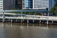 Pacific Motorway and Riverside Expressway with Brisbane river vi. Ew royalty free stock photo
