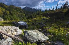 Pacific North West Hiking Landscape Mountains Background Stock Photo
