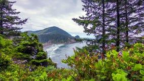 Pacific Northwest Coast, USA - the winding US route 101 along the misty Oregon coastline near Yachats.  royalty free stock image