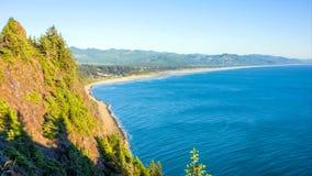 Pacific Northwest Coast, USA - the winding US route 101 along the misty Oregon coastline near Yachats.  royalty free stock images