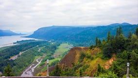 Pacific Northwest Coast, USA - the winding US route 101 along the misty Oregon coastline near Yachats stock photo