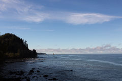 Pacific Northwest Coastline. The calm ocean meeting the rocky coastline of Washington. Pine trees cover a small headland Royalty Free Stock Images