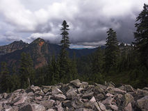 Pacific Northwest Mountains. A cloudy view of Alaska Mountain and adjoining ridgeline as seen from the Pacific Crest Trail in Washington State stock images