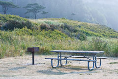 Pacific northwest picnic table area Stock Photos