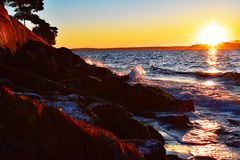 Pacific Northwest Waves at Alki royalty free stock image