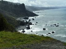 Pacific Ocean along Oregon coast. View of Pacific Ocean from rugged cliffs of the Oregon coast Stock Image