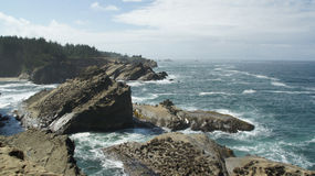 Pacific Ocean as seen from cliffs off Hwy 101 in Oregon. Stock Photos