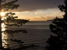 Pacific ocean with beautiful sunset Stock Photos