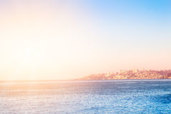 Pacific ocean with buildings of Vina del Mar, Chile. In the distance stock images