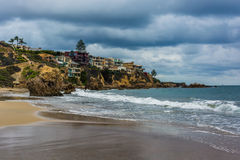 The Pacific Ocean and cliffs in Corona del Mar  Royalty Free Stock Image