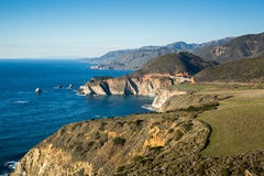 Pacific Ocean Coastline and Bixby Bridge, Big Sur, California Royalty Free Stock Images