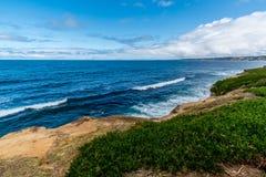 The Pacific Ocean Coastline in California. The Blue Waters of the Pacific Ocean Coastline Along the Beach of La Jolla, California stock image