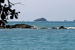 Pacific ocean of Costa Rica. View of the Pacific ocean and trees on the coast of Costa Rica Stock Photos