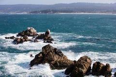 Rocky Coastline of Point Lobos, California Royalty Free Stock Images