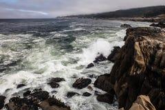 Pacific Ocean Crashes on Rocky California Coast Royalty Free Stock Photography