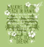 Pacific ocean dream. Floral background graphic scenic tropical beach vector illustration