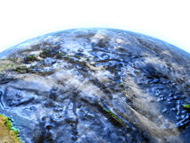 Pacific Ocean on Earth - visible ocean floor. Pacific Ocean on 3D model of Earth. 3D illustration with plastic planet surface and ocean floor. Elements of this Stock Photography