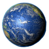 Pacific Ocean on Earth - visible ocean floor. Pacific Ocean on 3D model of Earth. 3D illustration with plastic planet surface and ocean floor. Elements of this Stock Images