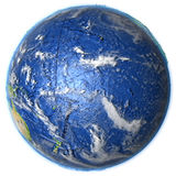 Pacific Ocean on Earth - visible ocean floor. Pacific Ocean on 3D model of Earth. 3D illustration with plastic planet surface and ocean floor. Elements of this Royalty Free Stock Photography