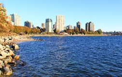 Pacific ocean from English Bay, Downtown Vancouver, British Columbia. Canada Stock Photos
