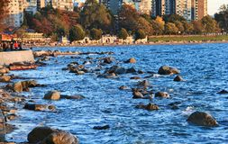 Pacific ocean from English Bay, Downtown Vancouver, British Columbia. Canada Royalty Free Stock Photos