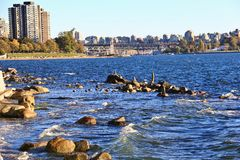 Pacific ocean from English Bay, Downtown Vancouver, British Columbia. Canada stock photo