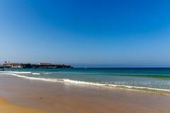 Pacific ocean golden beach, Tarifa, Spain Royalty Free Stock Image