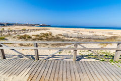 Pacific ocean golden beach, Tarifa, Spain Stock Photos