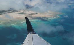 Pacific Ocean Island from Air Stock Image